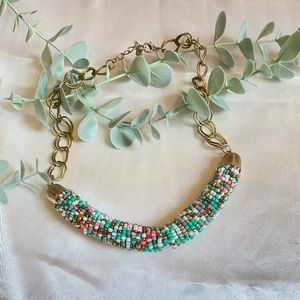 Teal, Pink & White Bead Necklace Gold